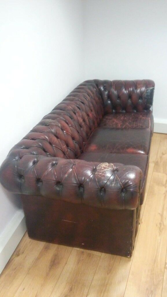 Awesome Chesterfield 3 Seater Sofa In Oxblood Red Leather In City Of London London Gumtree Cjindustries Chair Design For Home Cjindustriesco