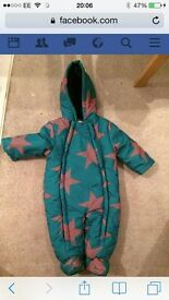 babies snow suit 9-12 new with tags green with orange stars John Lewis