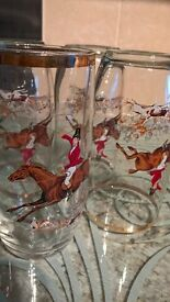 4 Glass tumblers with Hunting Scenes