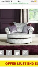 Quantas Silver velvet large twister swivel/cuddle chair SCS and moon shape footstool scs range