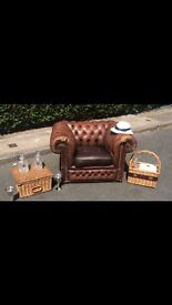 Fabulous brown leather chesterfield chair