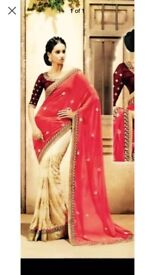 Pink and orange saree