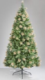 7ft green Christmas tree with gold frosted tips
