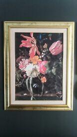Vintage Floral Framed Canvas Art Dragonflies