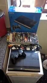 Sony PS3 CECH-4001c - Boxed -500gb-Fully Working +10 Games