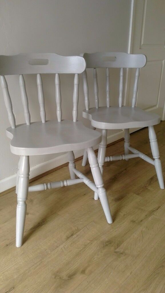 Two Painted Farmhouse Dining Chairs (Light Grey)