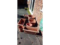 Assortment of plant pots.