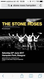 X1 Standing Stone Roses ticket Hampden 24/06/17