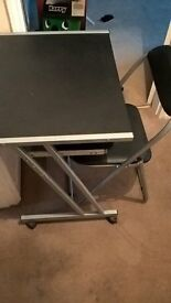 Black and Silver Desk and Chair