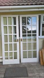 Solid Wood 15 Pane Bevelled Glass Doors