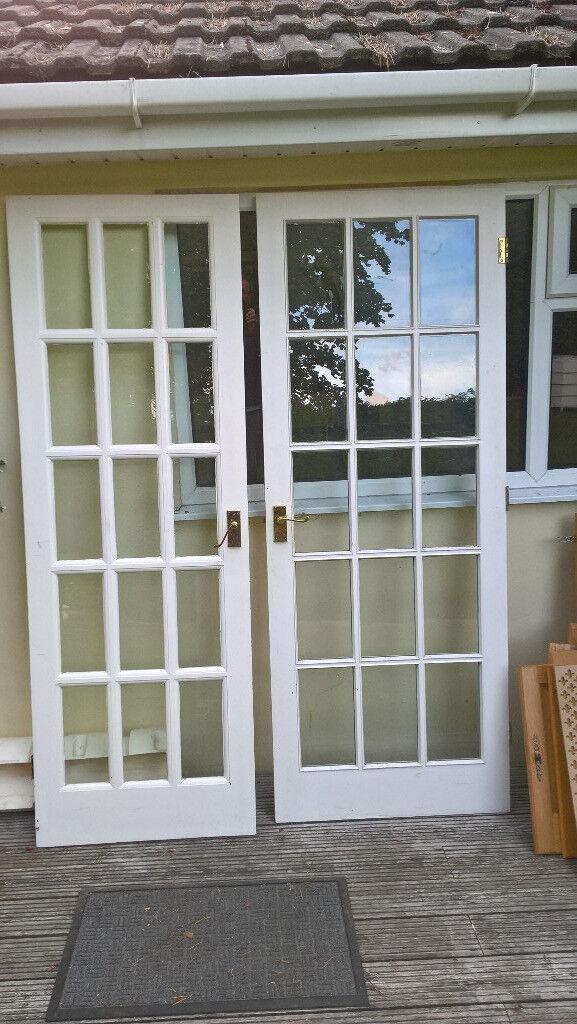 Solid Wood 15 Pane Bevelled Glass Doors In Broadstone Dorset