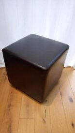 Brown fake leather pouffe / footstool