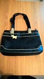 Ladies Radley handbag - black with lime trim, good used condition