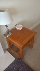 LAMP, BEDSIDE, LOUNGE TABLE, SOLID WOOD 1 DRAWER GLUSBURN BD20 8DW, W.YORKS NEAR DOG AND GUN, MALSIS