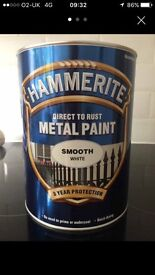 5 Litres White Smooth Hammerite. 2 available