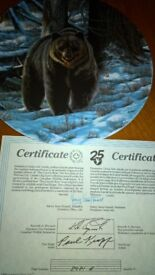 Grizzly Bear Ltd Edition Collector Plate On Canadian Dominion China Mint Condition With Certificate