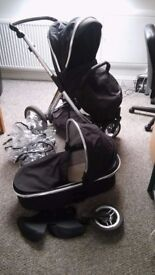 Black Oyster Max Pram with Seat and Cot attachments