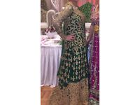 Indian/ Pakistani 3 piece green bridal lengha with heavy over coat
