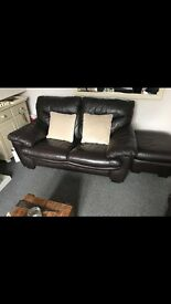 DFS two seater sofas x2, electric recling chair and storage pouffe. Genuine leather.