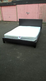 faux leather king size bed