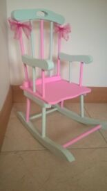 Small rocking chair pink green for child age 1-5