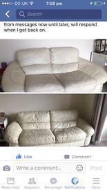 Cream/white 3-2 leather sofas