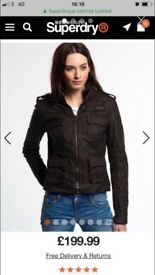 Woman's Superdry Dark Brown Leather Jacket for sale