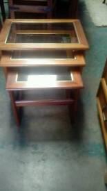 Nest od teak side tables