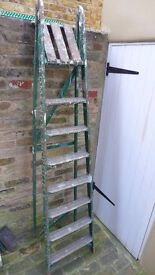 TALL, Vintage, Paint-Splattered, Shop Fitters', Wooden Step Ladder. For up-cycling.