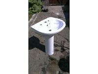 White porcelain bathroom sink/basin + pedestal