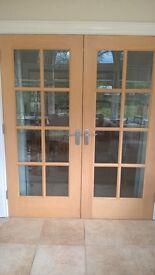 glazed white oak doors