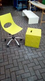 designer swivel chair and matching stool