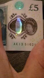 AK13 Five pound Note