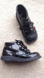 Girls patent kicker boots