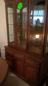 solid cherry oak display cabinet 3x doors, drawers & glass doors delivery available