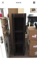 Dark wood floating wall unit - above TV