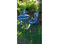 garden table 2 chairs cast metal seat furniture vintage classic style decking lawn set