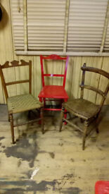 THREE ASSORTED RUSTIC CHAIRS