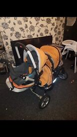 Double pushchair with baby car seat