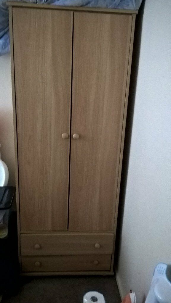 Matching wardrobe & bedside cabinet, good condition, hardly used