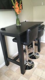 Solid wood table, black, excellent condition