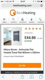 Anthracite Flat Towel Radiator