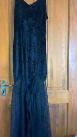 Dark Star Long Black Velvet & Lace Dress Free Size Excellent Condition