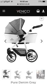 Venicci Pure Denim Grey 3 In 1 Travel System With Isofix Base And Parasol