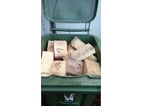 FIREWOOD - for wood burners, wood off cuts and blocks, 140 litre bin quantity.
