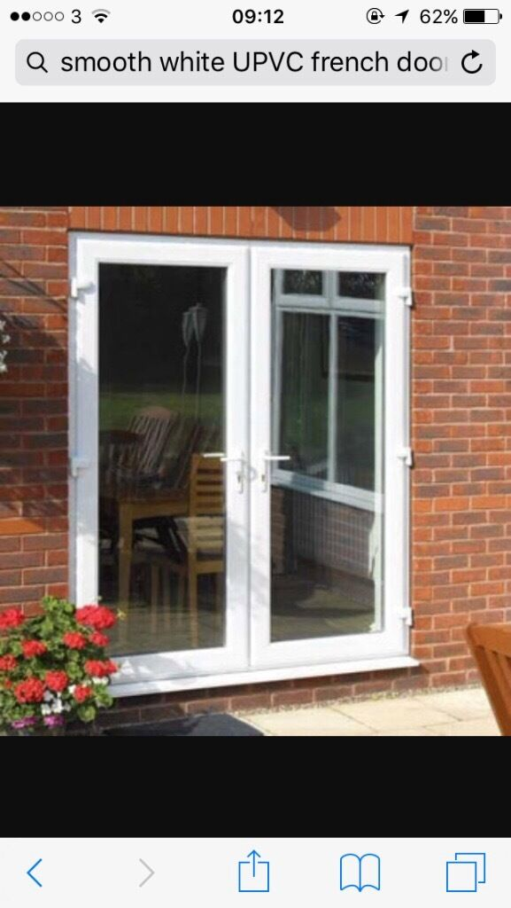 Smooth White Upvc French Doors With Cat Flap Second Hand In