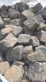 reclaimed pink granite cobbles/setts (small)