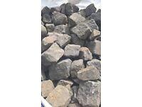 reclaimed pink granite cobbles/setts (small)