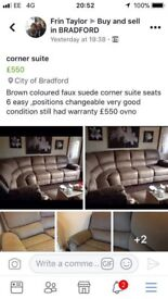 Corner faux suede suite for sale