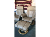2 Stylish Reclinable Armchairs and Footrest